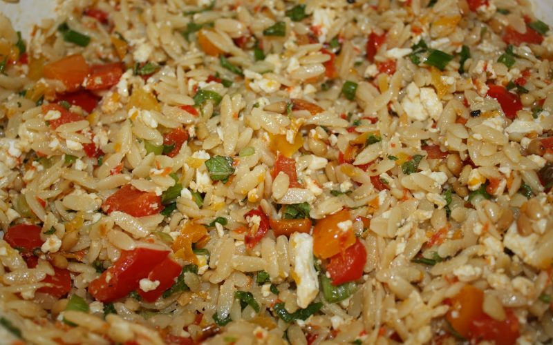 Orzo Salad with Feta, Mint and Green Onions