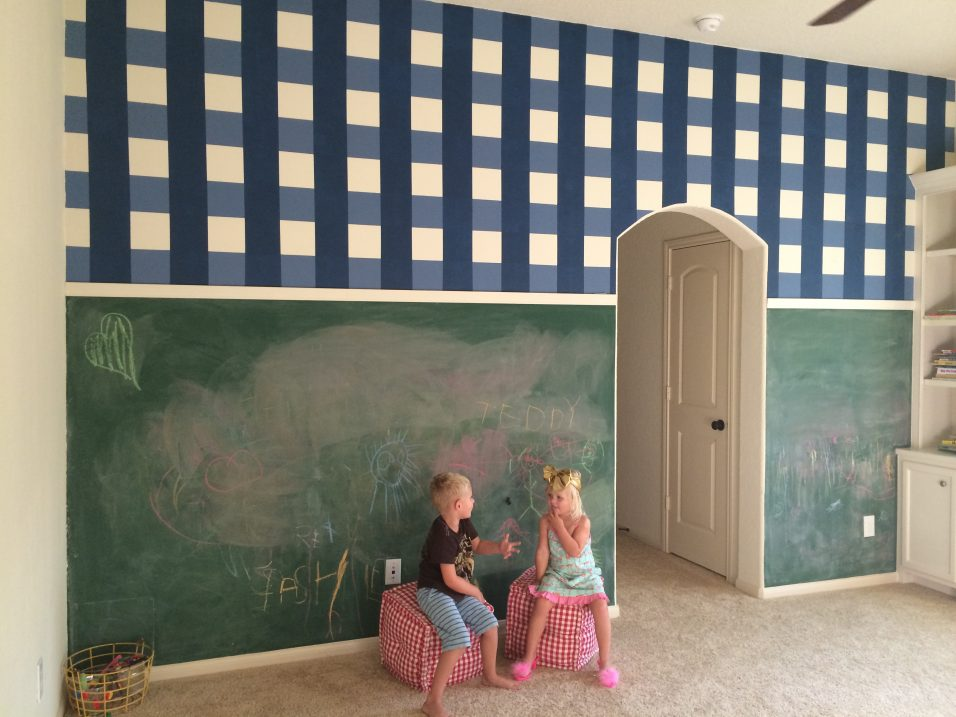 Gingham and Chalkboard Wall // Fancy Ashley