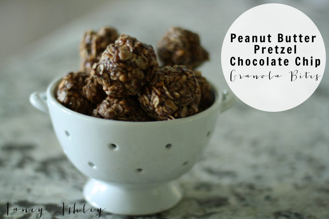 Peanut Butter Pretzel Chocolate Chip Granola Bites // Fancy Ashley