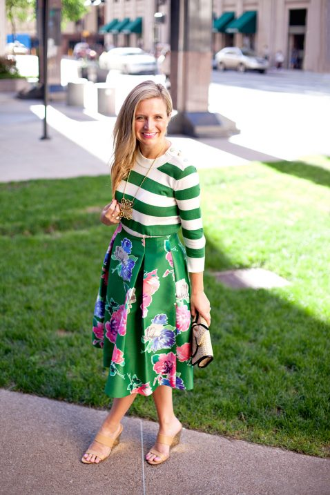 Floral Skirt and Striped Top