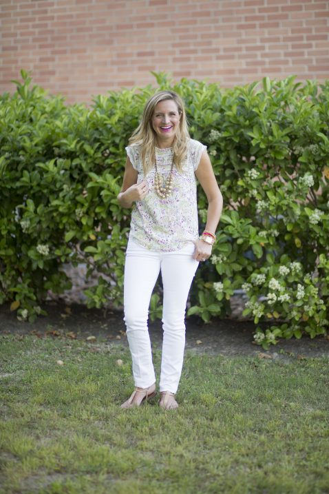 Everyday Fancy: Floral Top and White Denim