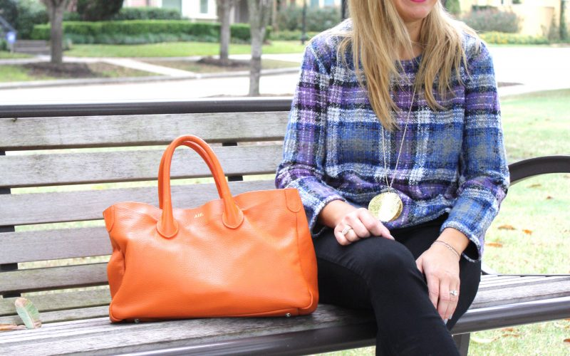 Plaid, Black Denim and a Slouch Handbag
