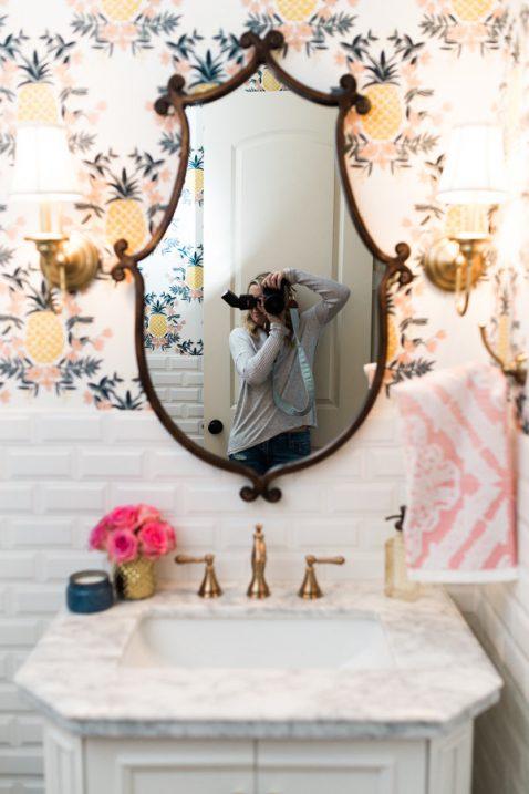 Pineapple Wallpaper Powder Bathroom
