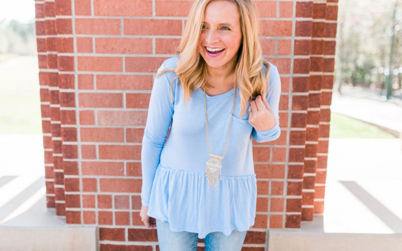 Everyday Fancy: Peplum Top and Distressed Denim