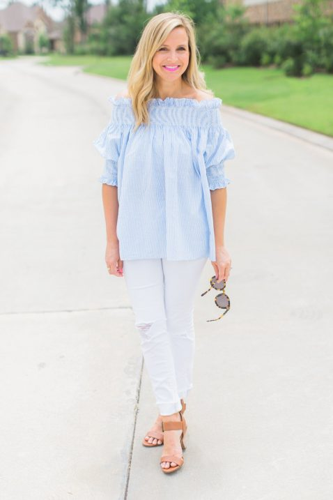 8b527c4d0c2 Smocked Off The Shoulder Top- the perfect top for summer