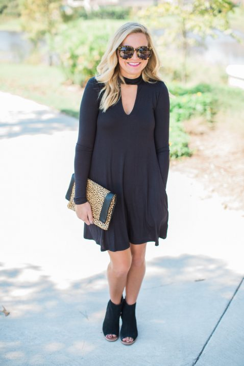 The Perfect Little Black Dress Booties And Leopard Clutch For Fall