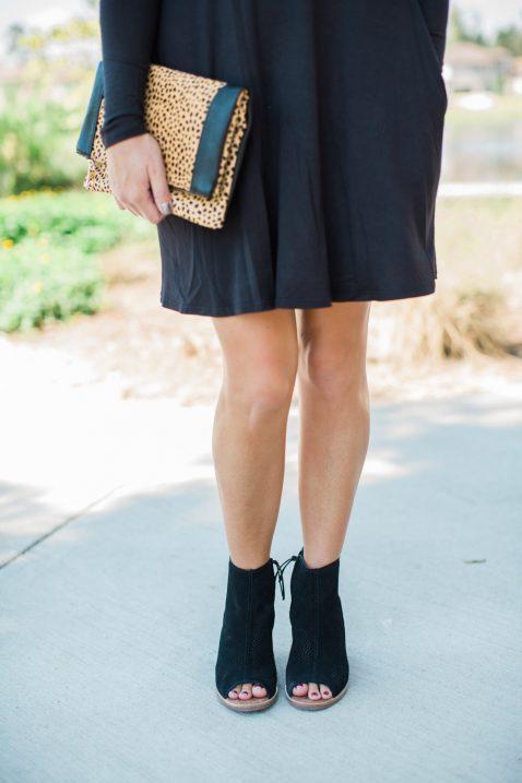 black dress-booties-leopard clutch