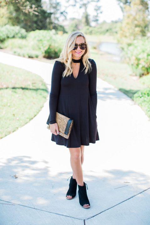black dress-booties-leopard clutch