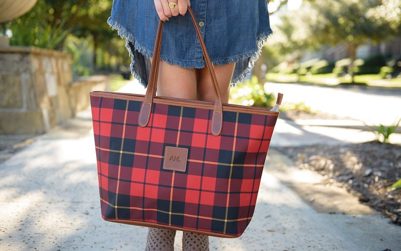 Plaid Tote Bag and Denim Shirtdress
