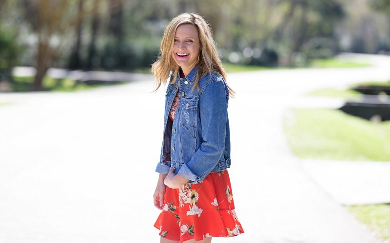 Red Floral Dress Wedges and Denim Jacket