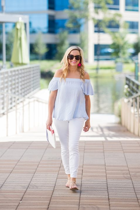 a55d190e06b459 Striped Off The Shoulder Top and White Denim - Fancy Ashley