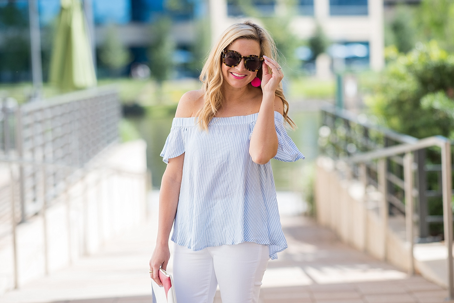 2ab9f1c2058e01 Striped Off The Shoulder Top and White Denim - Fancy Ashley