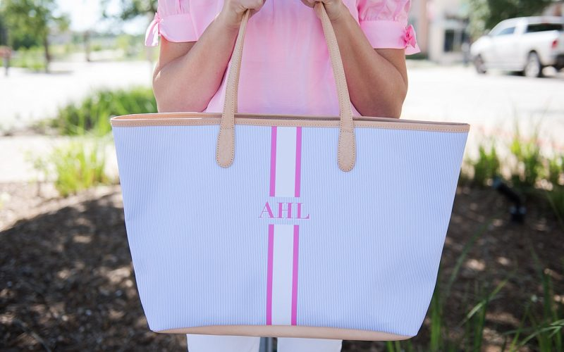 Pink Off the Shoulder Top, White Denim and Summer Tote