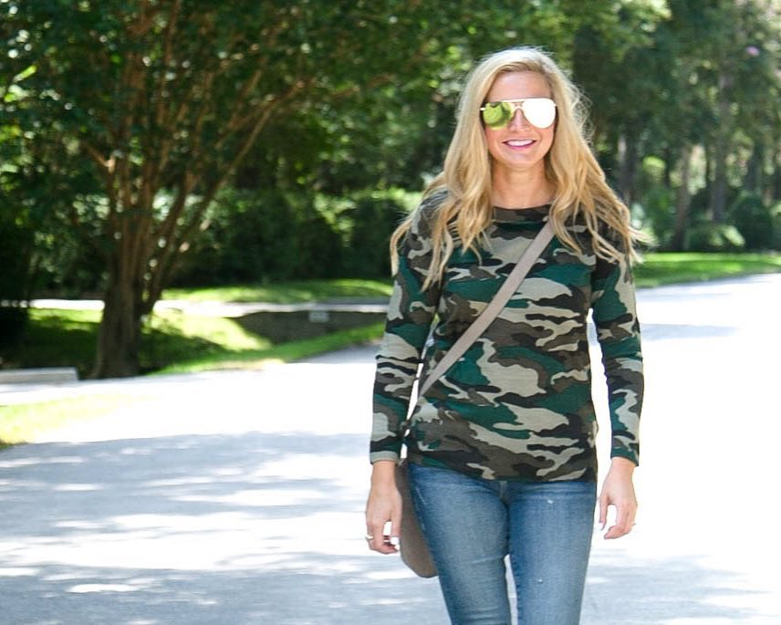 Amazon Fashion Sale: Day of Deals Top Picks featured by top Houston fashion blogger, Fancy Ashley: image of a woman wearing a J.Crew camo sweater