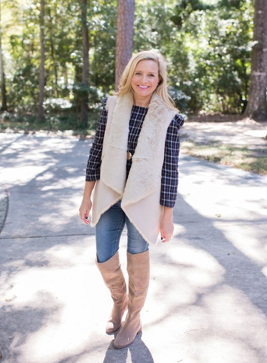 4eabf77fa45 Over The Knee Boots, Faux Fur Vest and Denim - Fancy Ashley