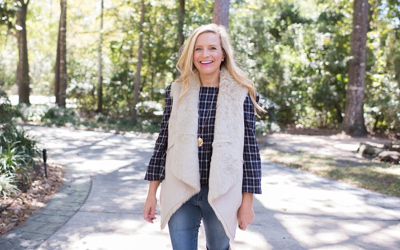 Over The Knee Boots, Faux Fur Vest and Denim