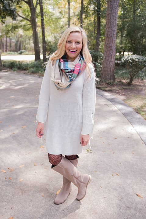 sweater dress tights and boots