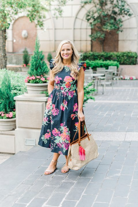 Floral Dress, Sole Society Sandals and Bag