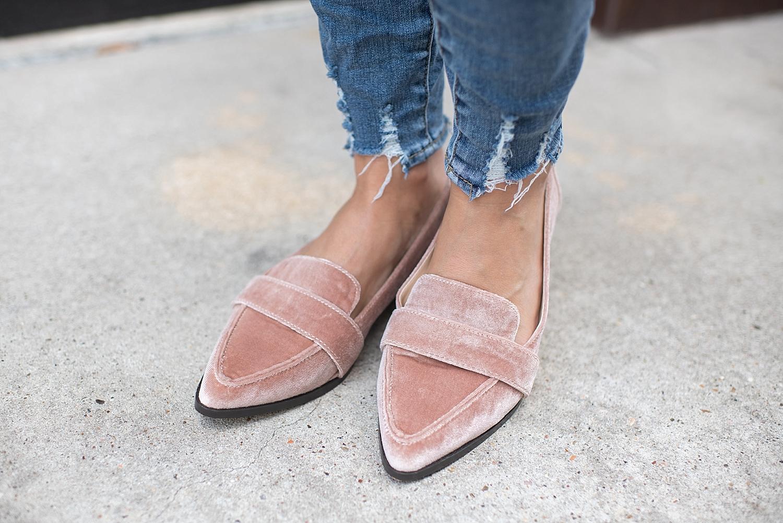 dc749651fdd Sole Society velvet loafers styled by popular Houston fashion blogger