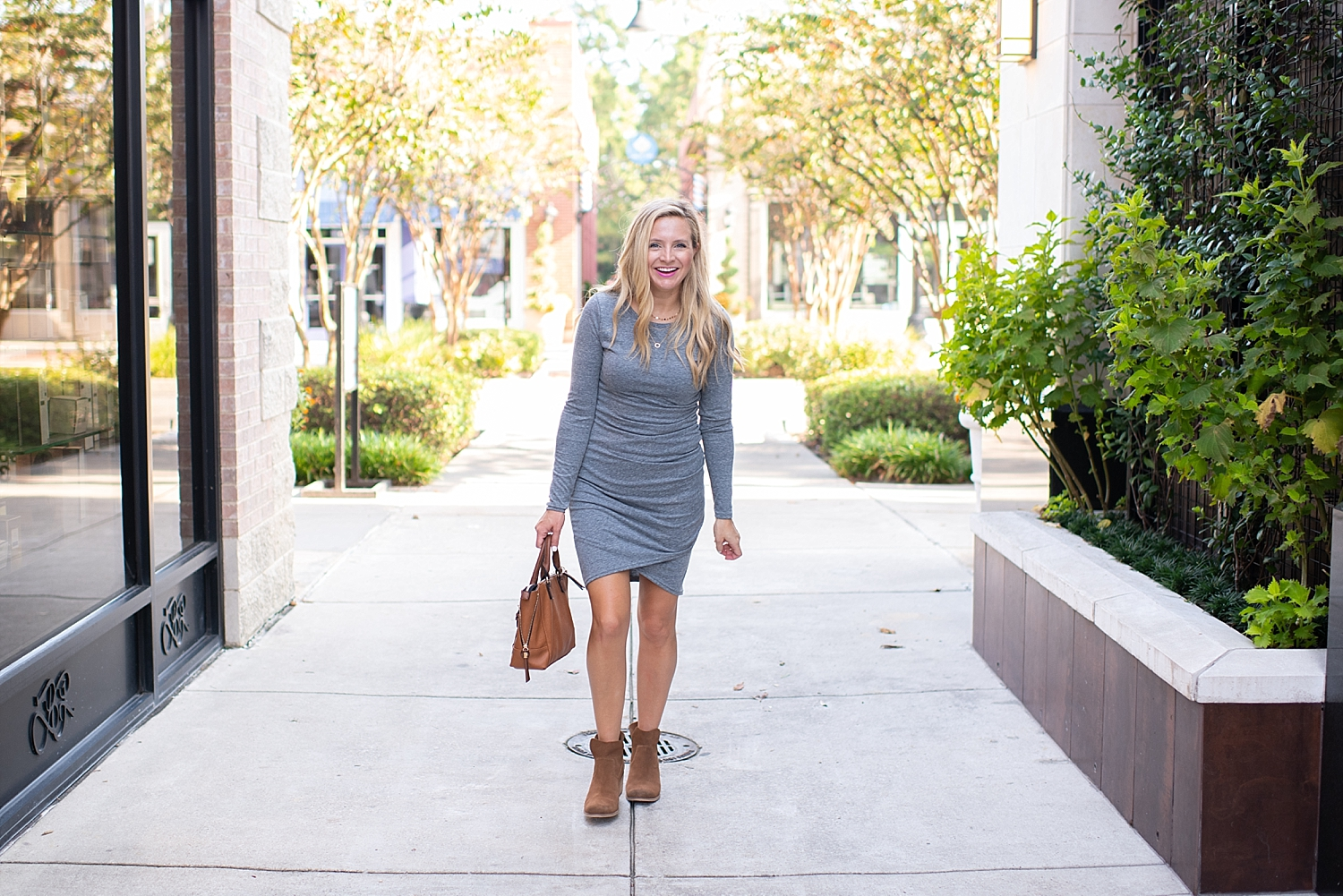 Leith Ruched Long Sleeve Fall Dress styled by popular Houston fashion blogger, Fancy Ashley