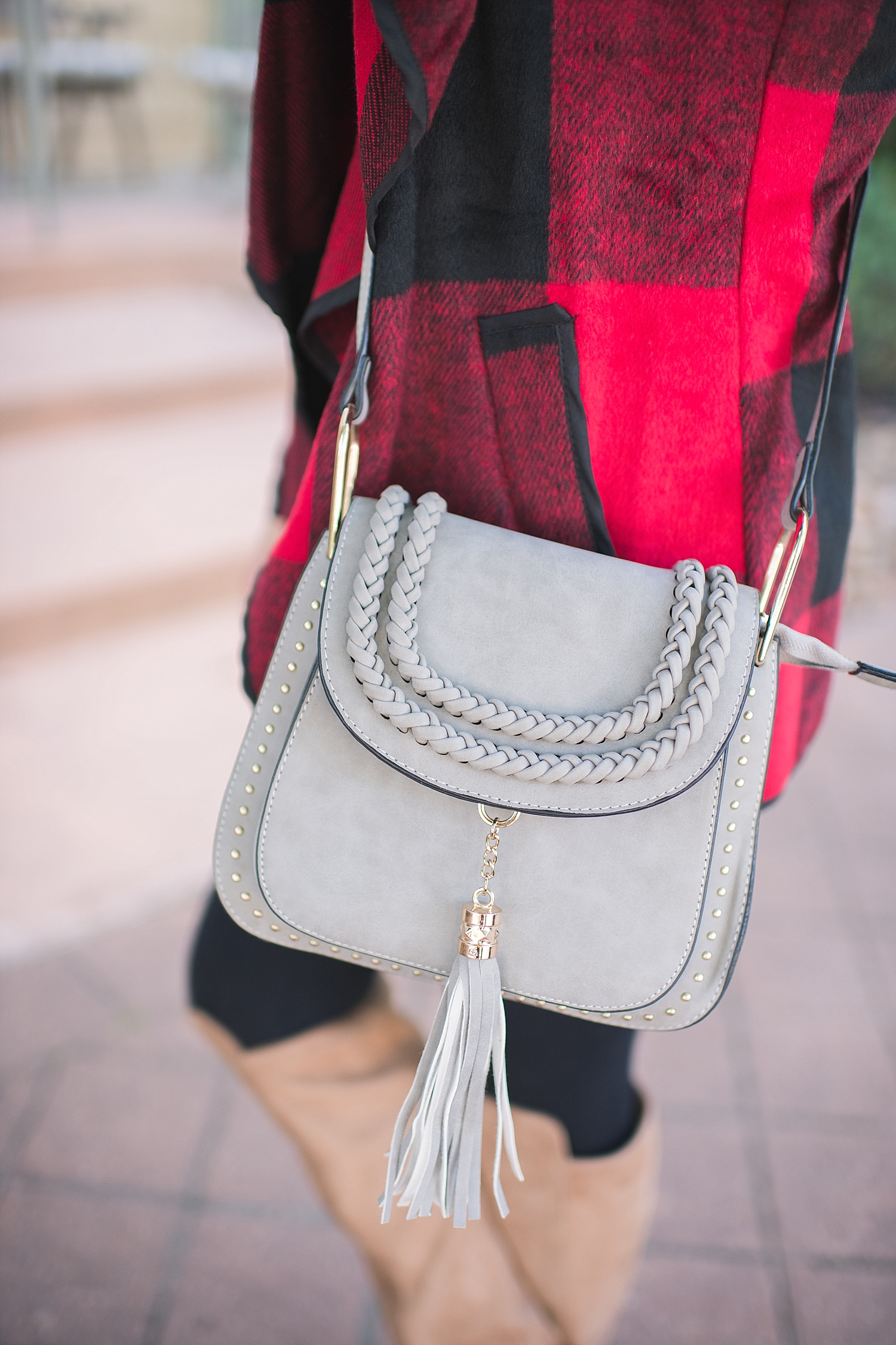 Winter fashion Amazon Favorites featured by top Houston fashion blogger, Fancy Ashley: image of a woman wearing a grey crossbody satchel bag