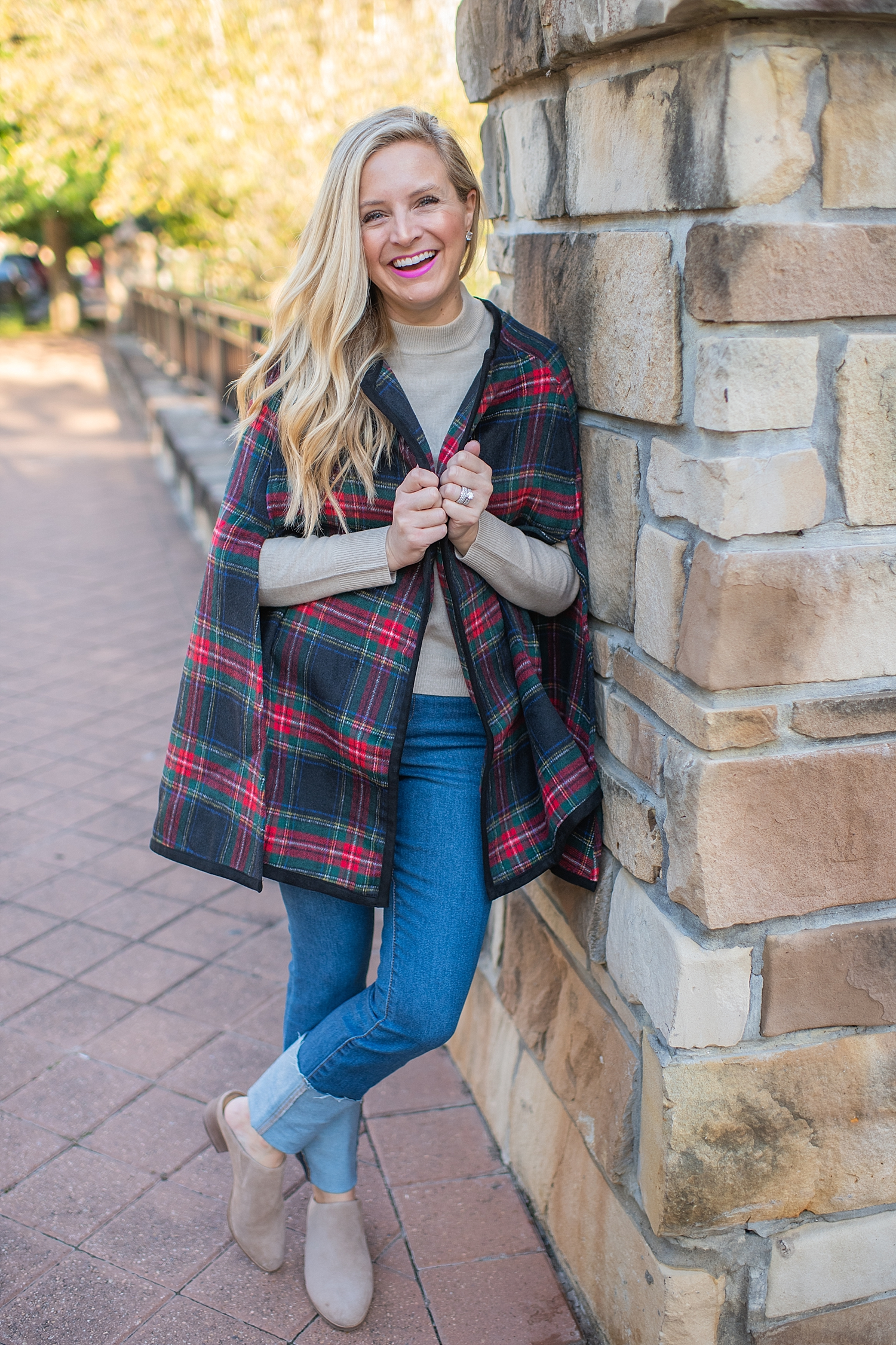 Ralph Lauren plaid cape styled by top Houston fashion blog, Fancy Ashley