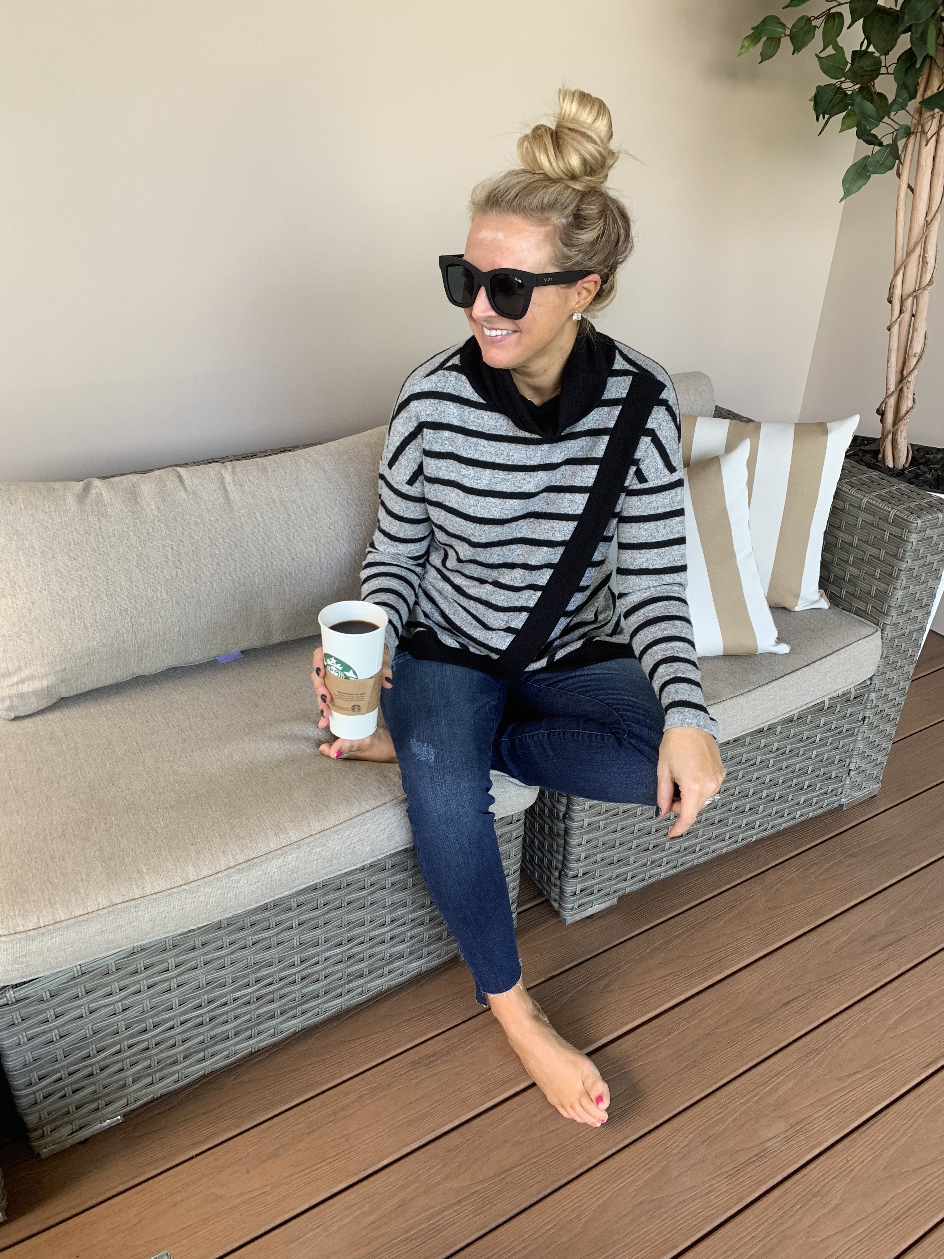 2b4ba73ed45 Nordstrom Striped Turtleneck styled by top Houston fashion blog