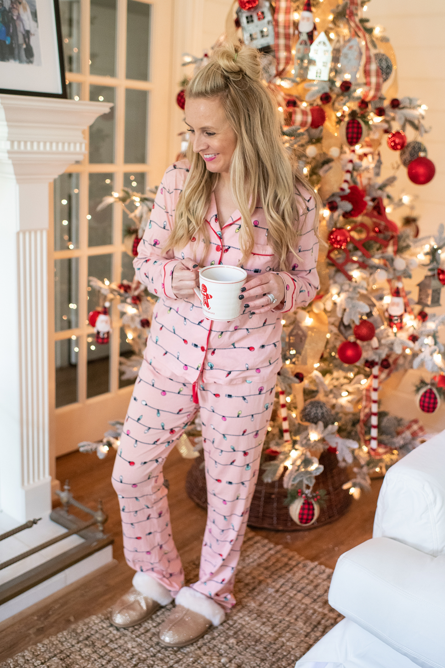 Winter fashion Amazon Favorites featured by top Houston fashion blogger, Fancy Ashley: image of a woman wearing aHoliday pjs, and UGG sparkles slipper