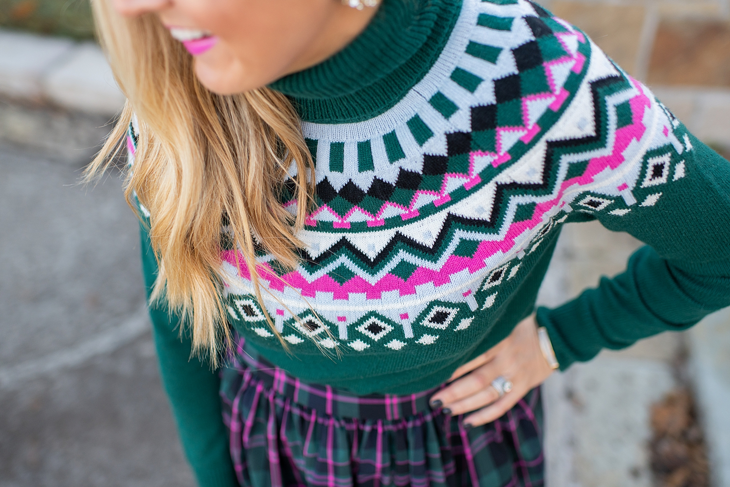Top Houston fashion blogger, Fancy Ashley, features 7 Holiday Outfits perfect for the season: image of a woman wearing a Plaid skirt, green turtleneck sweater and Sam Edelman heels, all available at Nordstrom