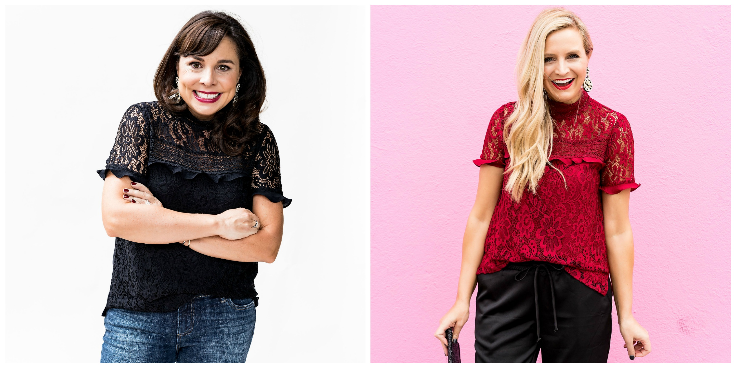The Latest Nordstrom Collection: Gibson x Glam Collection featured by top Houston fashion blog, Fancy Ashley - red lace top