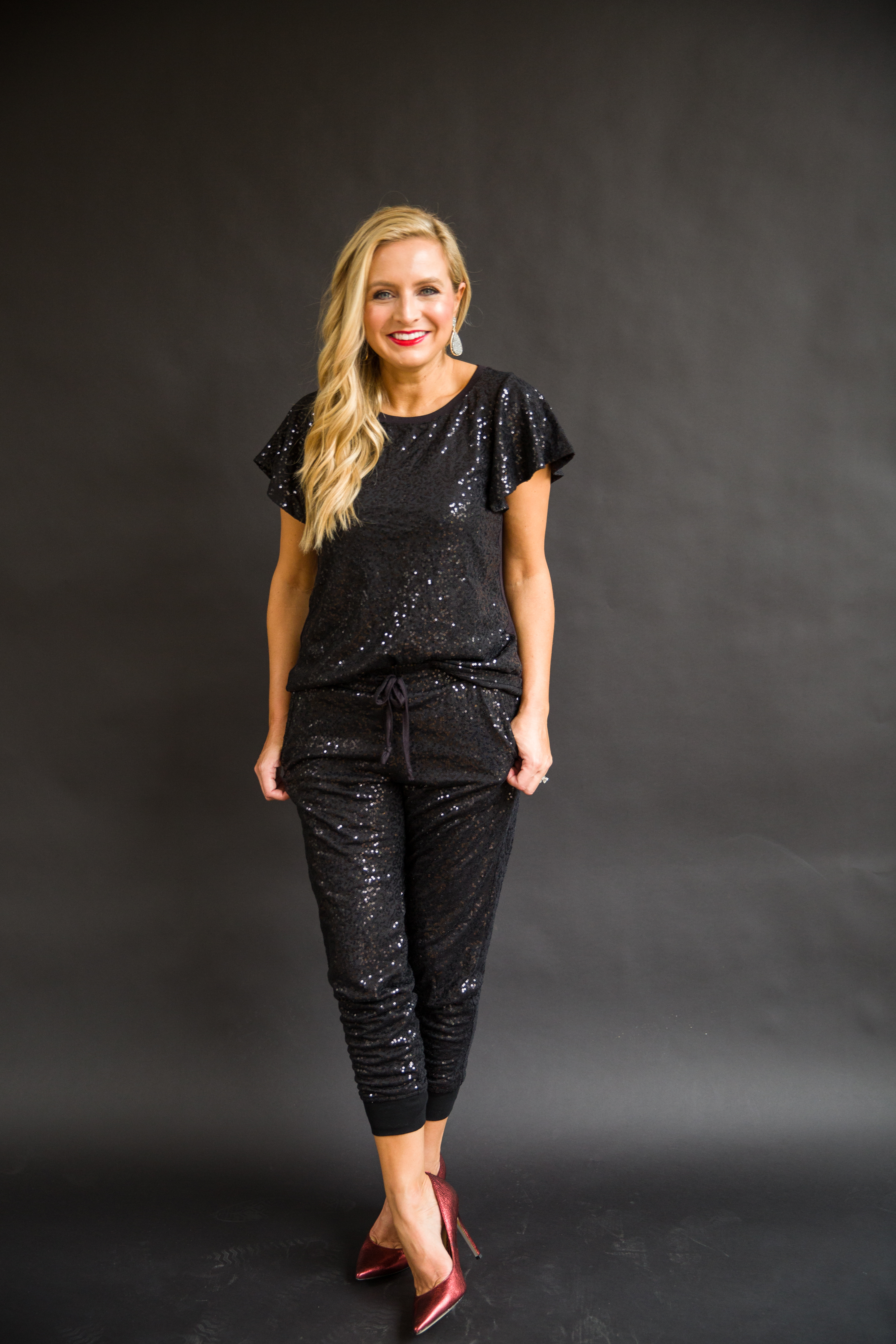 The Latest Nordstrom Collection: Gibson x Glam Collection featured by top Houston fashion blog, Fancy Ashley - sequin black joggers