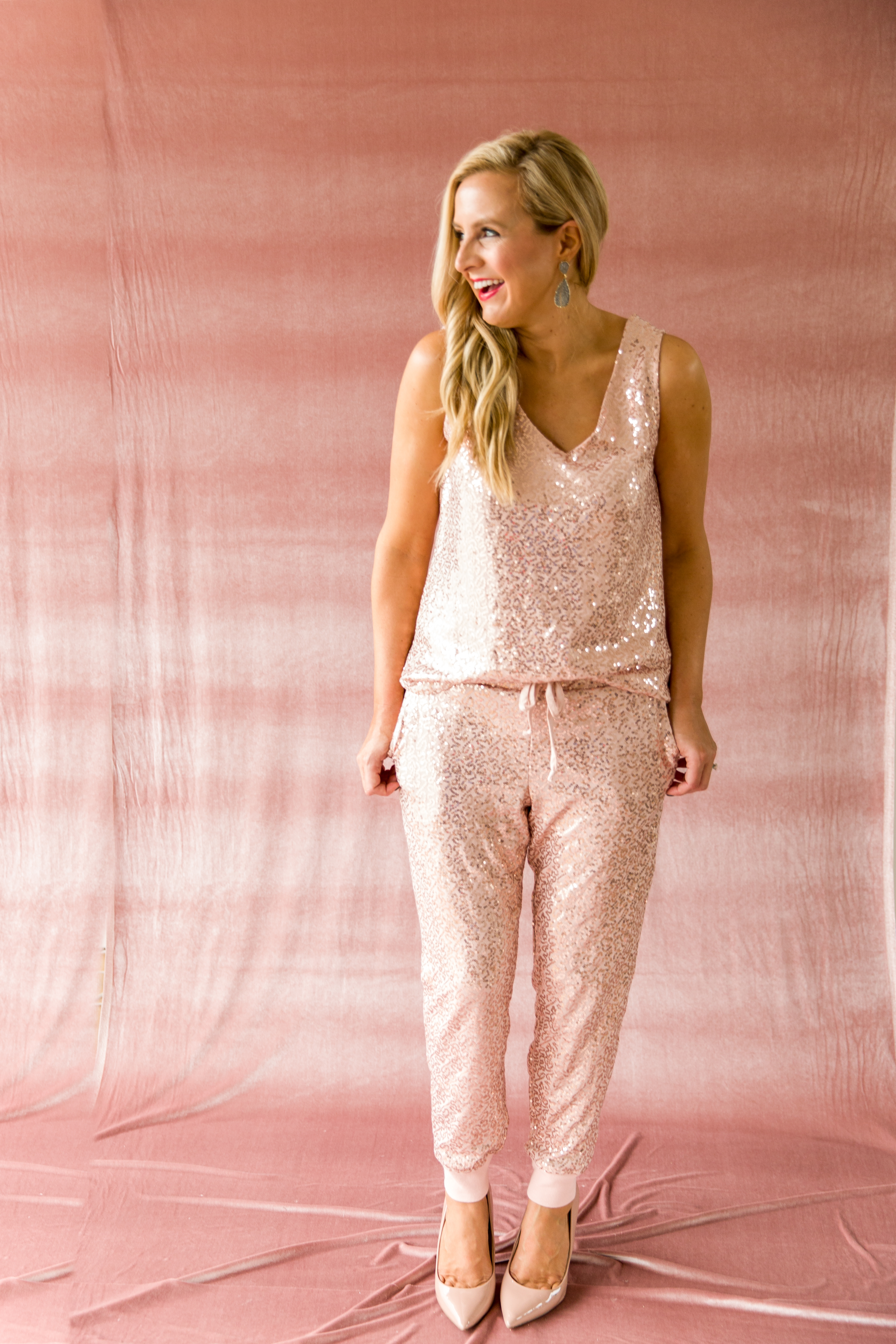 The Latest Nordstrom Collection: Gibson x Glam Collection featured by top Houston fashion blog, Fancy Ashley - pink sequin joggers