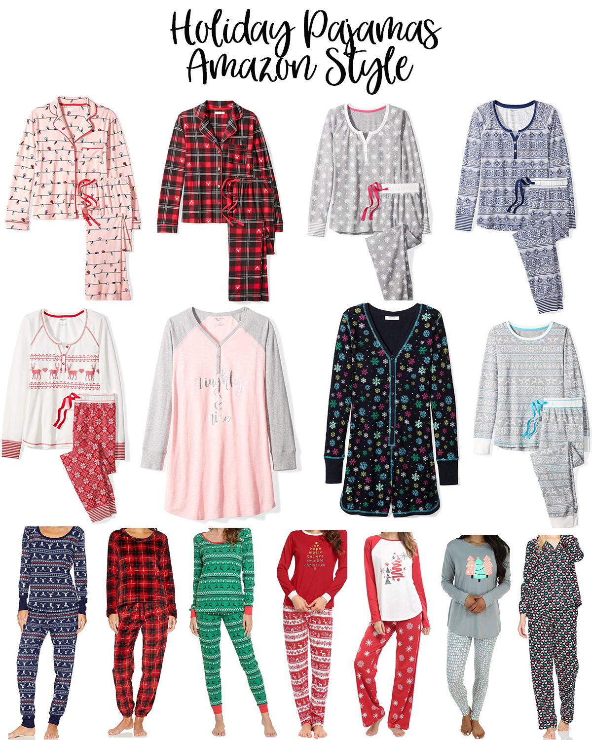 The Best Holiday Pajamas For Women on Amazon featured by top Houston fashion blog, Fancy Ashley