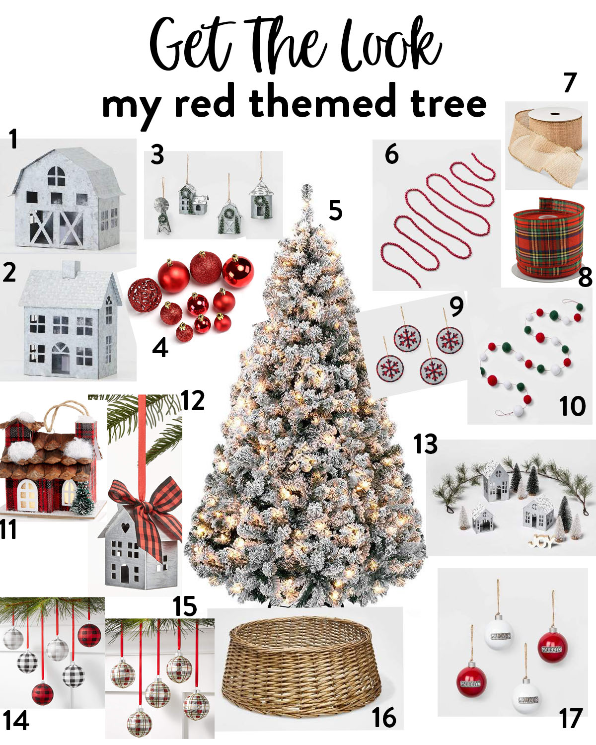 red themed Christmas tree