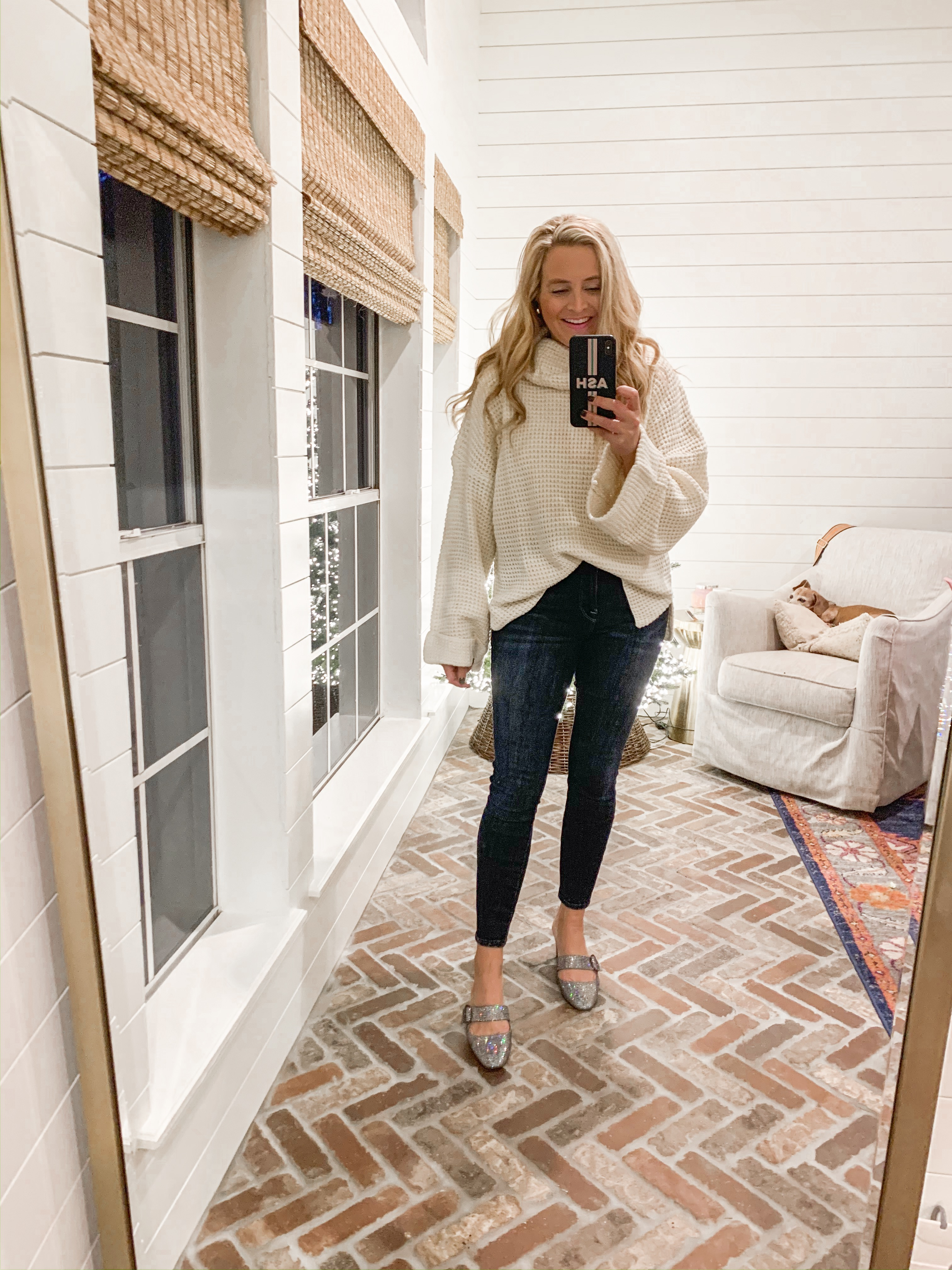 Amazon Haul by popular Houston fashion blog, Fancy Ashley: image of a woman wearing a Amazon Ybenlow Womens Turtleneck Oversized Sweater, Nordstrom Good Legs Ankle Skinny Jeans GOOD AMERICAN, and Amazon SJP by Sarah Jessica Parker Women's Vamp Mary Jane Block Heel Mule.