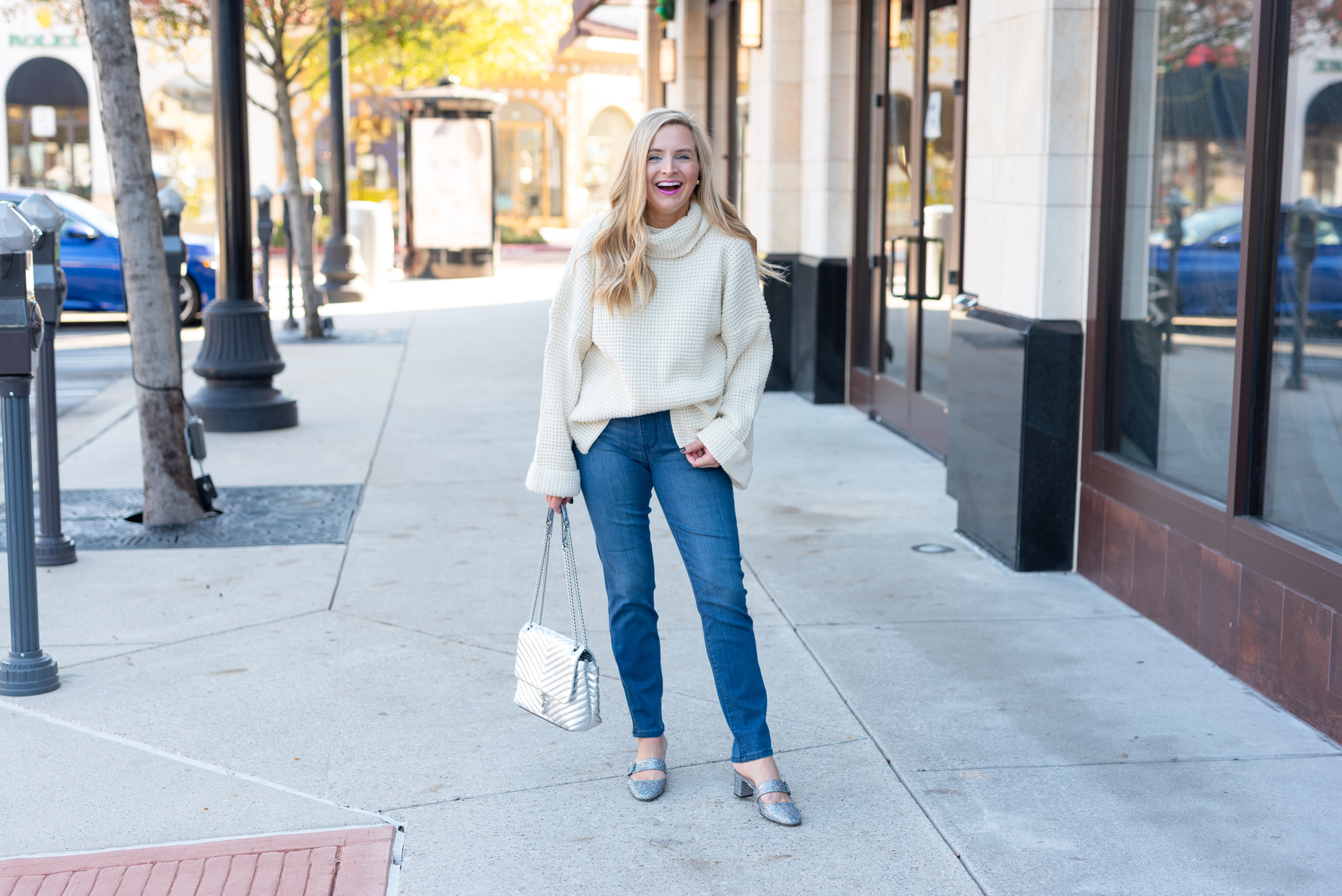 Best Sweaters on Amazon by popular Houston fashion blog, Fancy Ashley: image of a woman wearing a Amazon sweater, Nordstrom Good Legs Ankle Skinny Jeans GOOD AMERICAN, and Amazon SJP by Sarah Jessica Parker Women's Vamp Mary Jane Block Heel Mule
