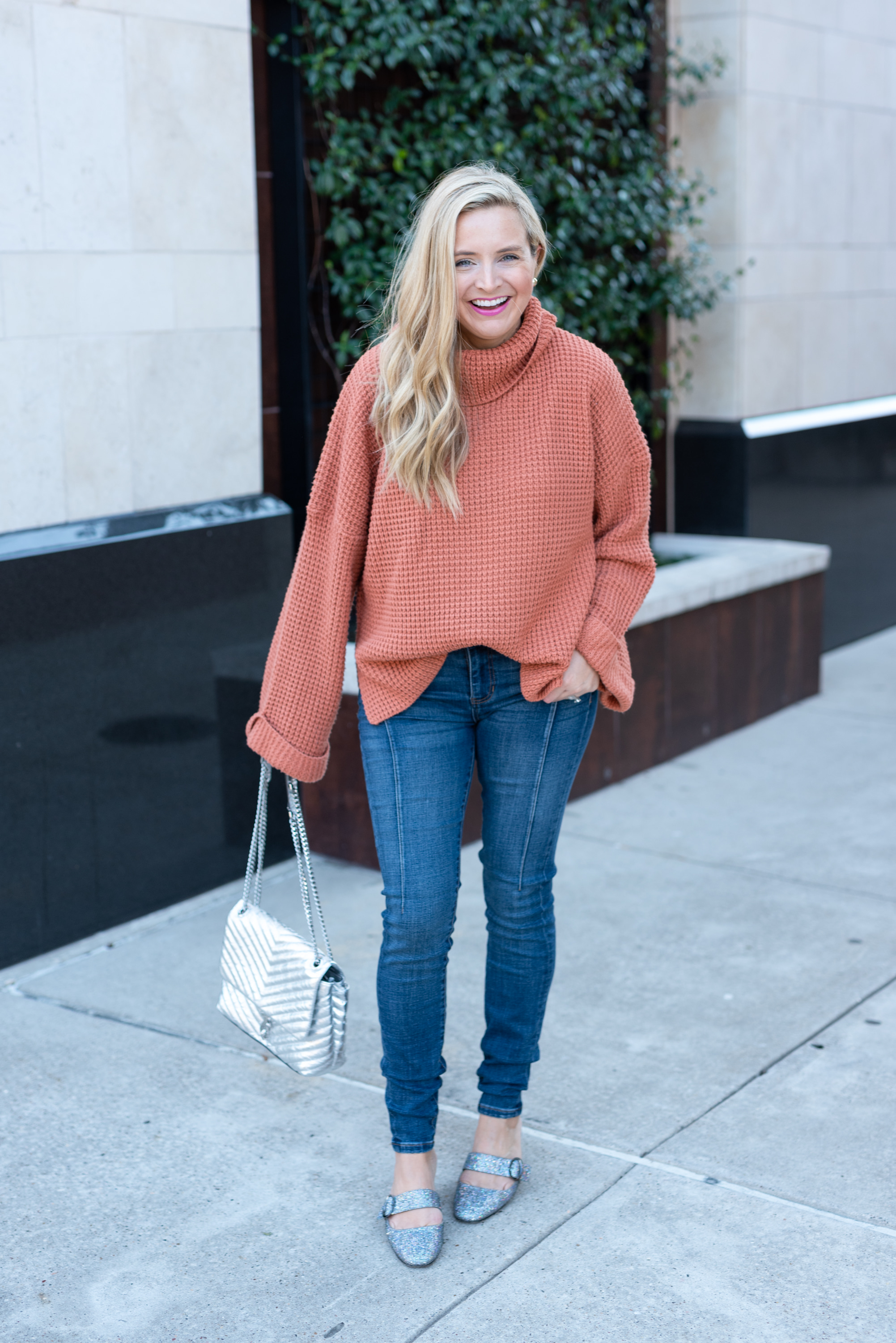 Best Sweaters on Amazon by popular Houston fashion blog, Fancy Ashley: image of a woman wearing a Amazon sweater,Nordstrom Good Legs Ankle Skinny Jeans GOOD AMERICAN, and Amazon SJP by Sarah Jessica Parker Women's Vamp Mary Jane Block Heel Mule