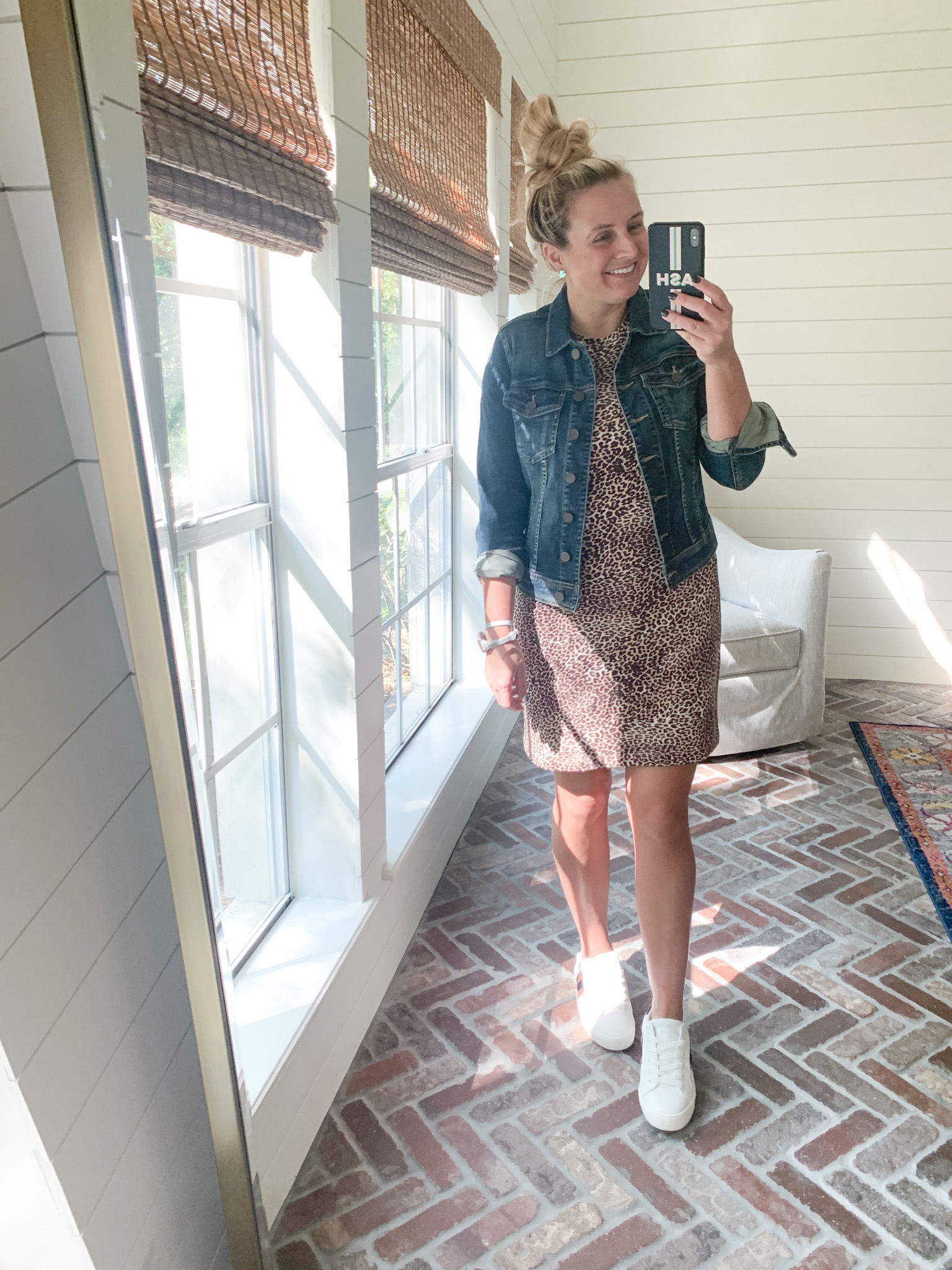 Amazon Haul by popular Houston fashion blog, Fancy Ashley: image of a woman wearing a Amazon Daily Ritual Women's Supersoft Terry Relaxed-Fit Puff-Sleeve Dress, Nordstrom Kut From the Kloth Helena Denim Jacket, and Walmart Time and Tru Women's Fashion Sneakers.