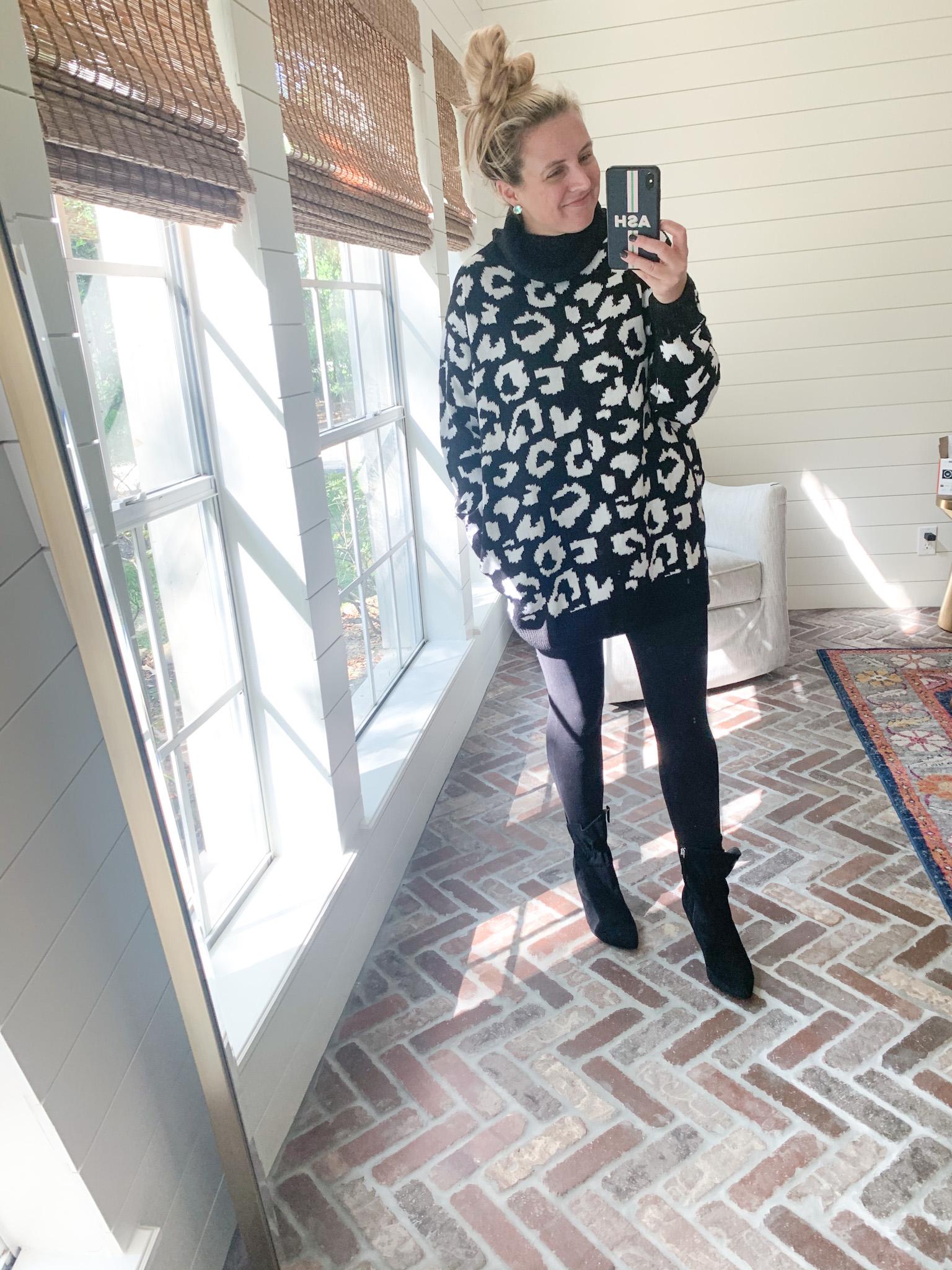 Amazon Haul by popular Houston fashion blog, Fancy Ashley: image of a woman wearing a Amazon Pink Queen Women's Loose Oversize Turtleneck Wool Long Pullover Sweater Dress, black leggings, and Walmart Scoop Women's Blair Scrunch Stiletto Heeled Booties