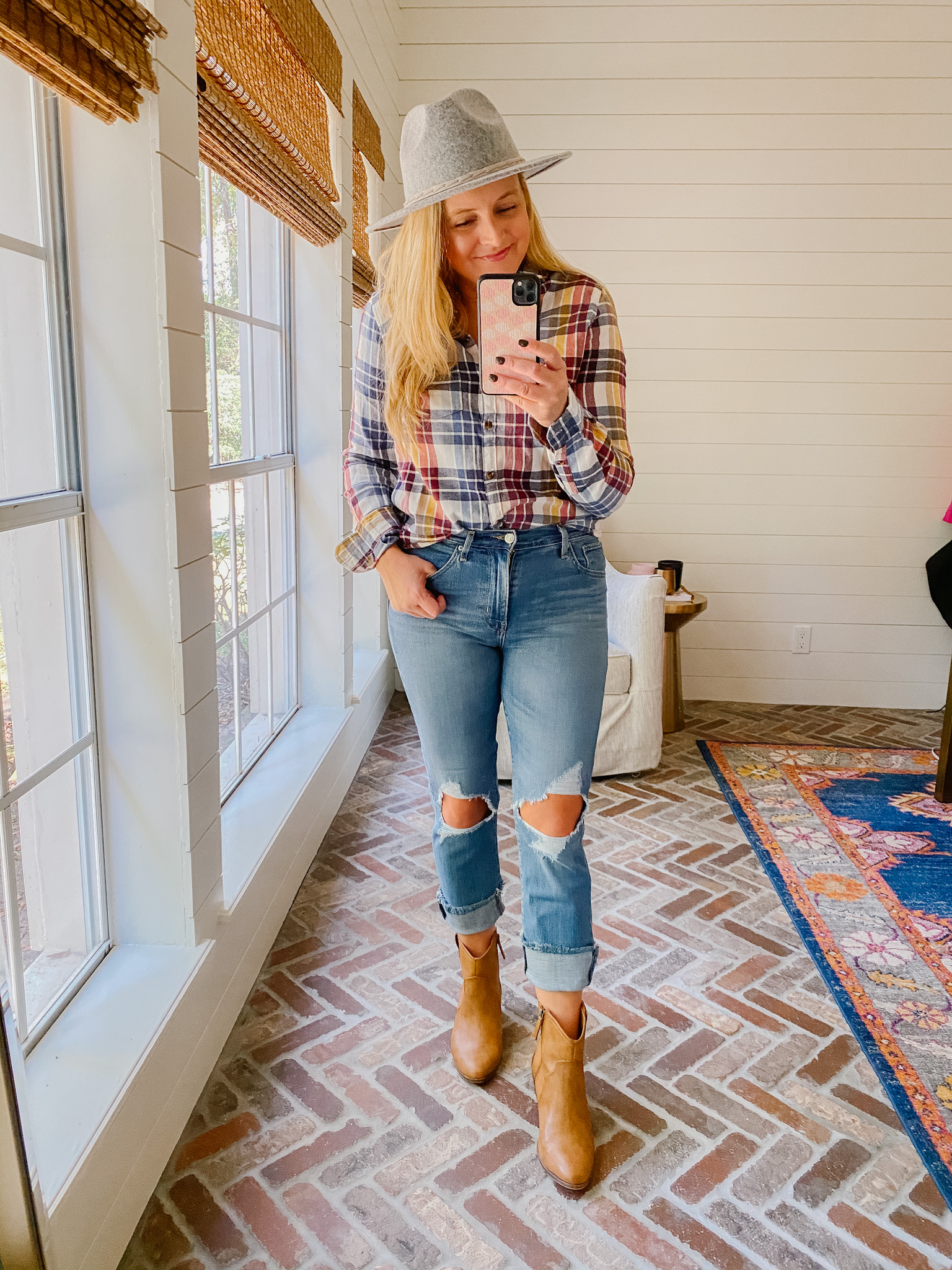 Prime Day by popular Houston fashion blog, Fancy Ashley: image of a woman wearing a Amazon plaid button up shirt, felt hat, distressed denim, and tan ankle boots.