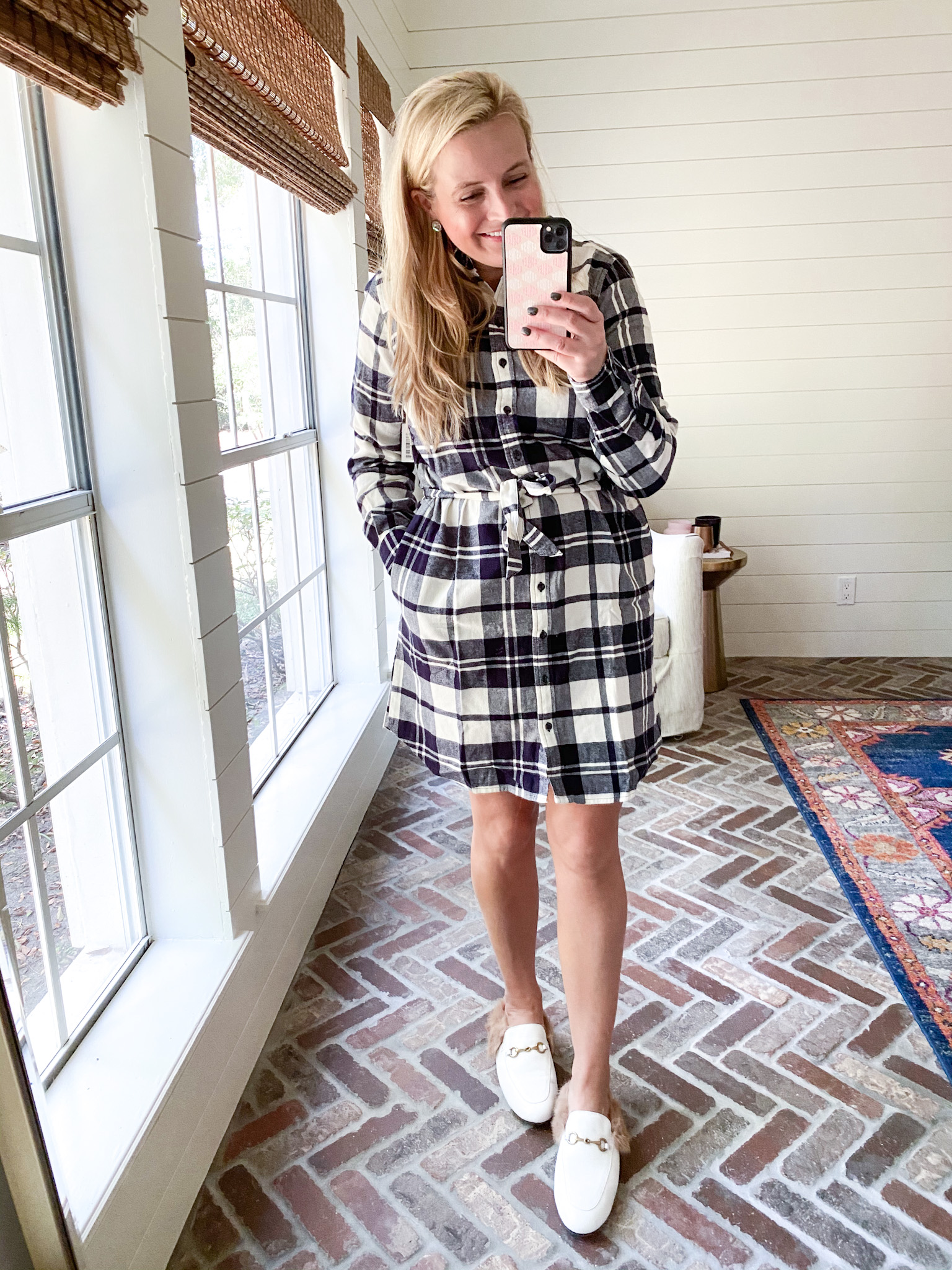 Prime Day by popular Houston fashion blog, Fancy Ashley: image of a woman wearing a Amazon plaid dress and white mules.
