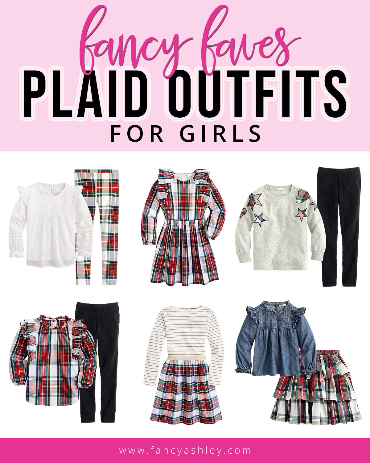 Fall Plaid by popular Houston fashion blog, Fancy Ashley: collage image of plaid outfits for girls.