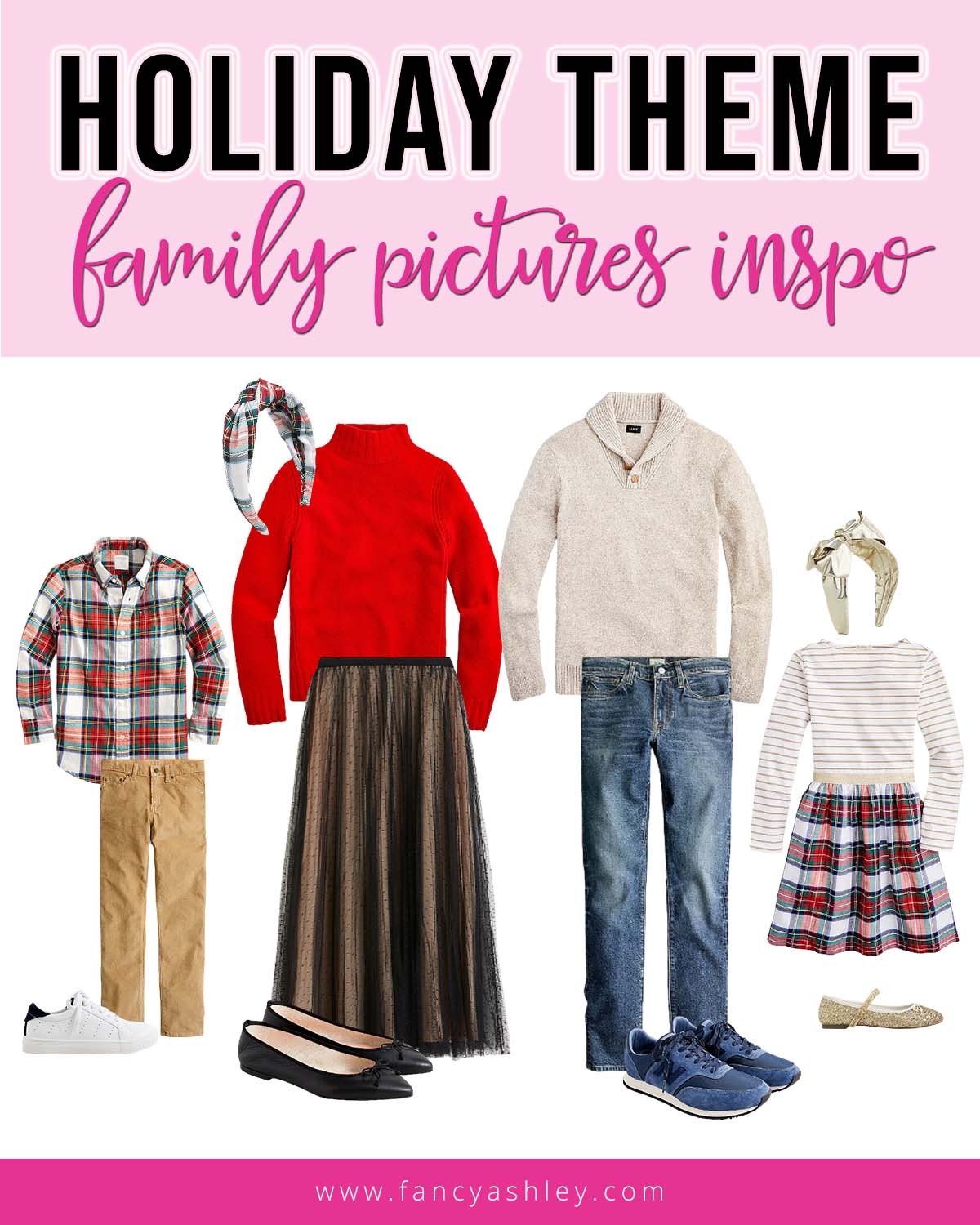 Fall Plaid by popular Houston fashion blog, Fancy Ashley: collage image of family pictures outfits.