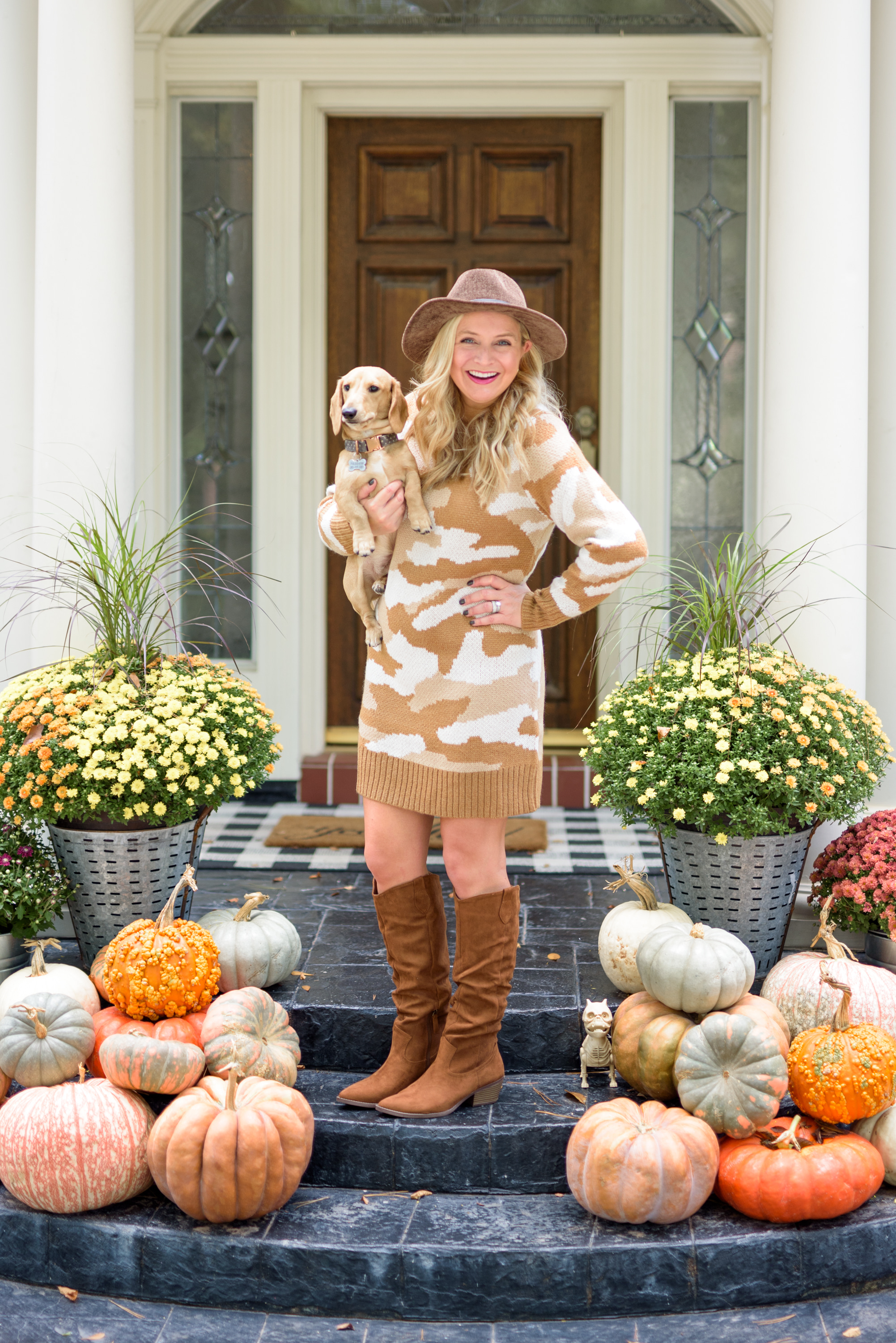 Fall Clothing by popular Houston fashion blog, Fancy Ashley: image of a woman wearing a Walmart Scoop Women's Camo Sweater Dress,Scoop Women's Wendy Slouch Western Boots, and Scoop Women's Chenille Fedora with Faux Leather Trim.
