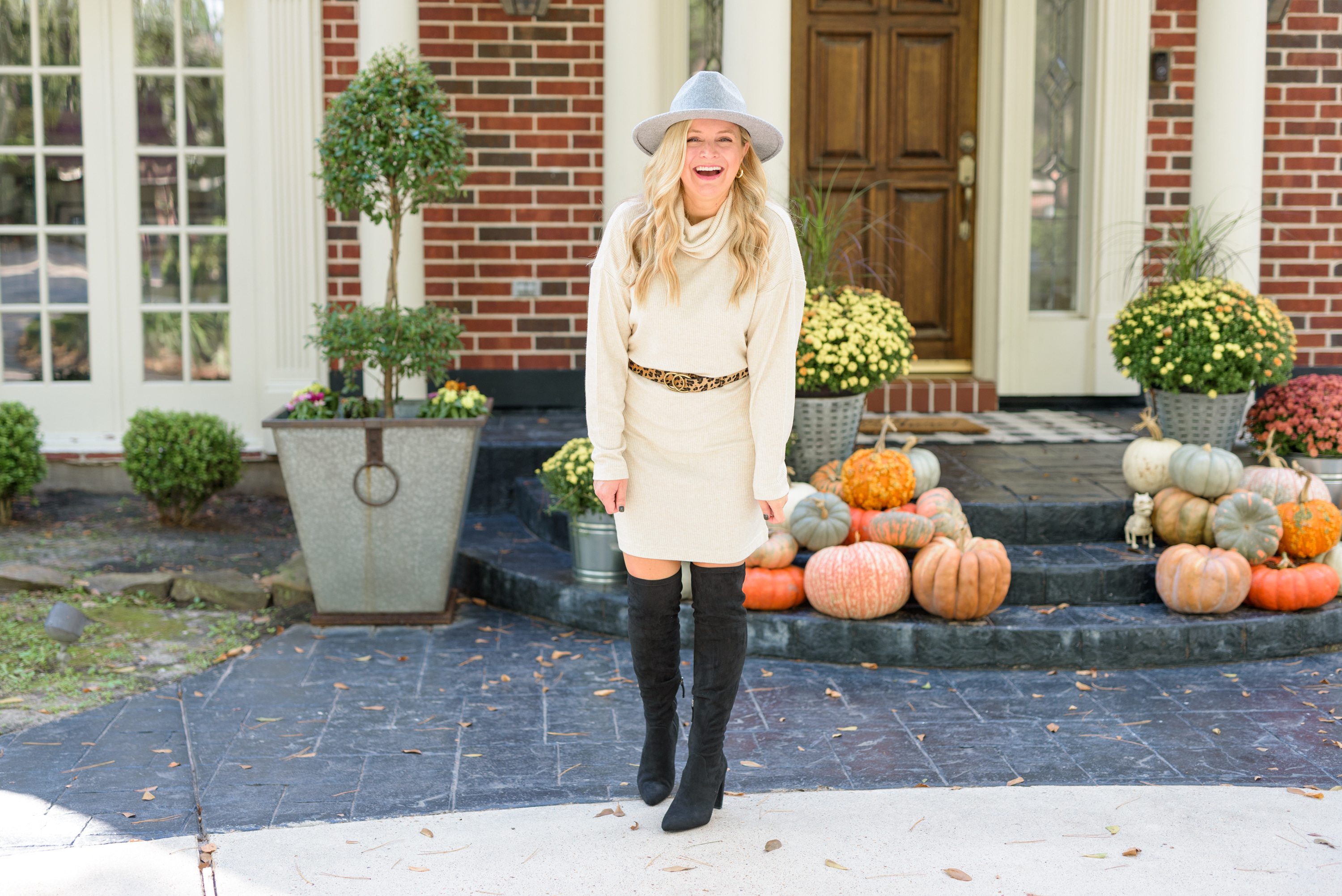 Fall Clothing by popular Houston fashion blog, Fancy Ashley: image of a woman wearing a Walmart Time and Tru Women's Cowlneck Dress,Scoop Alexandra Women's Over the Knee Heeled Boots,Time and Tru Women's Chenille Fedora with Braided Trim, and Walmart Women Leopard Print Leather Belt with Alloy Buckle.