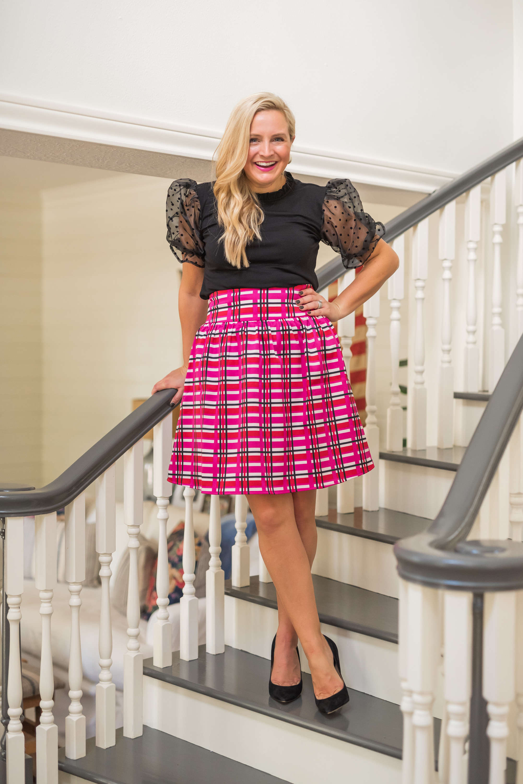 Hi Sugarplum by popular Houston fashion blog, Fancy Ashley: image of a woman wearing a Gibson Look Piccadilly Sheer Puff Sleeve Knit Top, Gibson Look Kensington Satin Skirt, J.Crew Oversized pearl earrings, and Nordstrom Danna Pointed Toe Pump SAM EDELMAN.