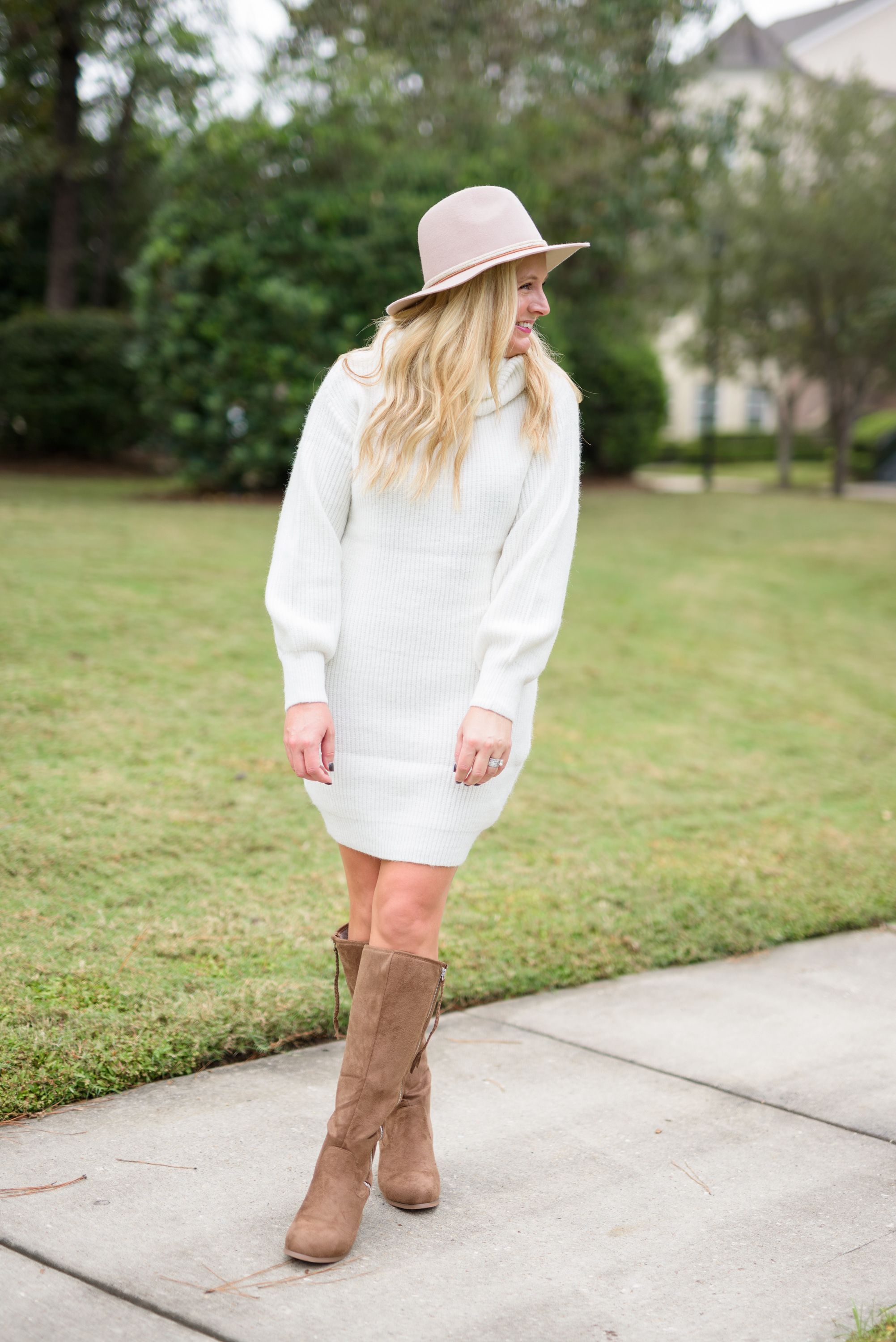 Knee High Boots by popular Houston fashion blog, Fancy Ashley: image of a woman standing outside and wearing a Nordstrom Rack TOPSHOP Turtleneck Sweater Dress, Nordstrom Rack JOURNEE Collection Sanora Knee High Boot, and Nordstrom Rack Frye Braided Crown Felted Fedora Hat.