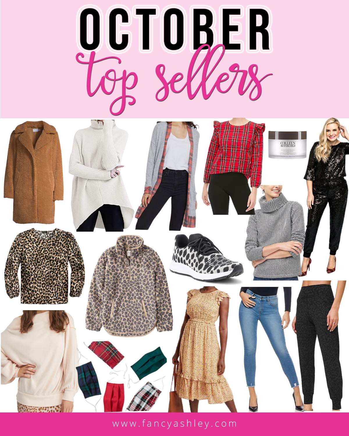 Top Selling Items by popular Houston fashion blog, Fancy Ashley: collage image of plaid face masks, black sequin jumpsuit, leopard print shirt, leopard print fleece pullover, plaid ruffle top, jeans, grey turtle neck sweater, Colleen Rothschild peel pads, cardigan, floral print ruffle hem dress, leopard print joggers, cream batwing sweater, and pullover tunic turtle neck sweater.