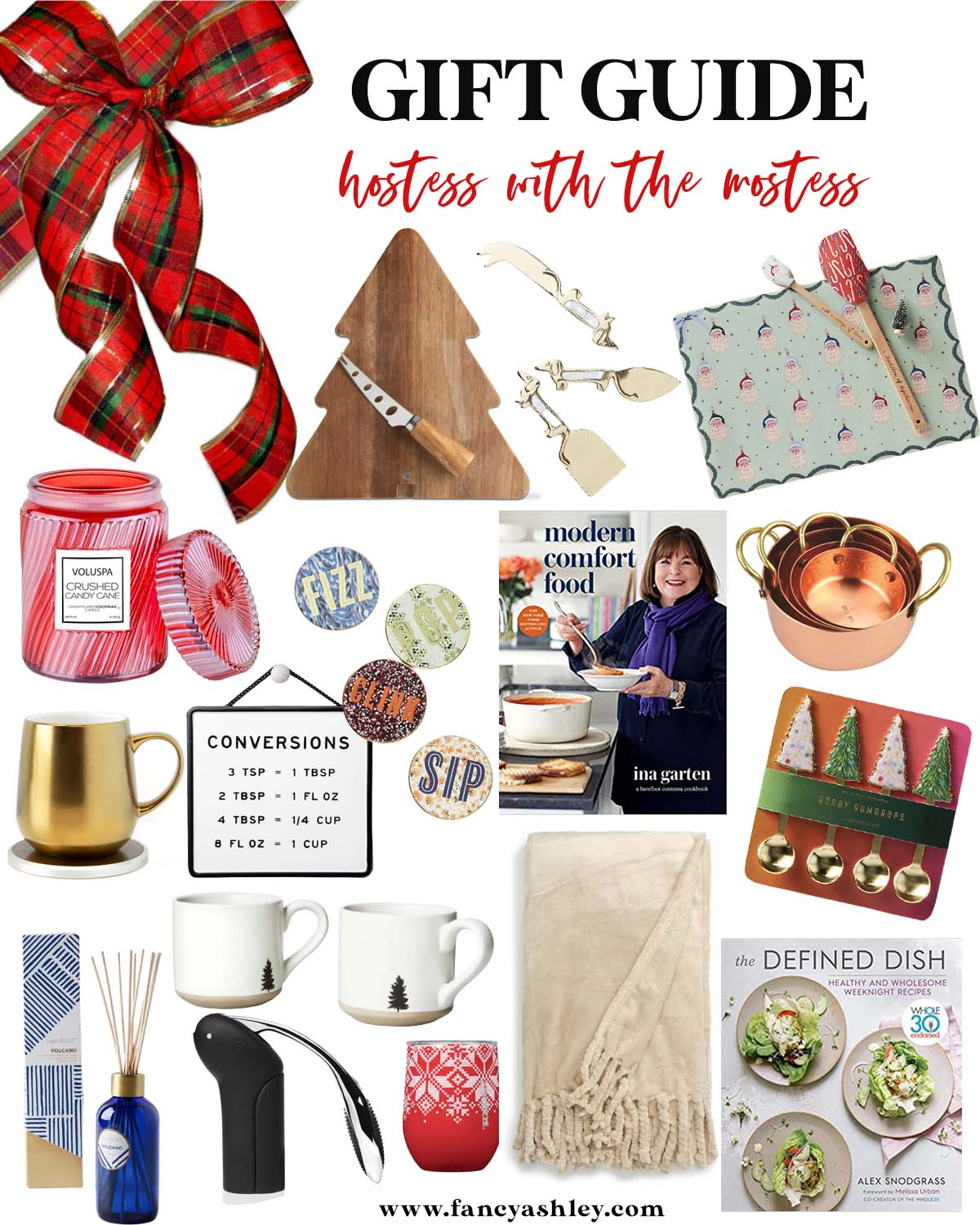 Hostess Gifts by popular Houston life and style blog, Fancy Ashley: collage image of tree shaped cutting board, gold cheese knives, Santa silicone baking mat and red spatula set, Voluspa Candle, coasters, Ina Garten cook book, copper pots, white ceramic mugs, Volcano incense, cream throw blanket, Defined Dish cookbook, mug warmer, conversion sign, and tree spoons.