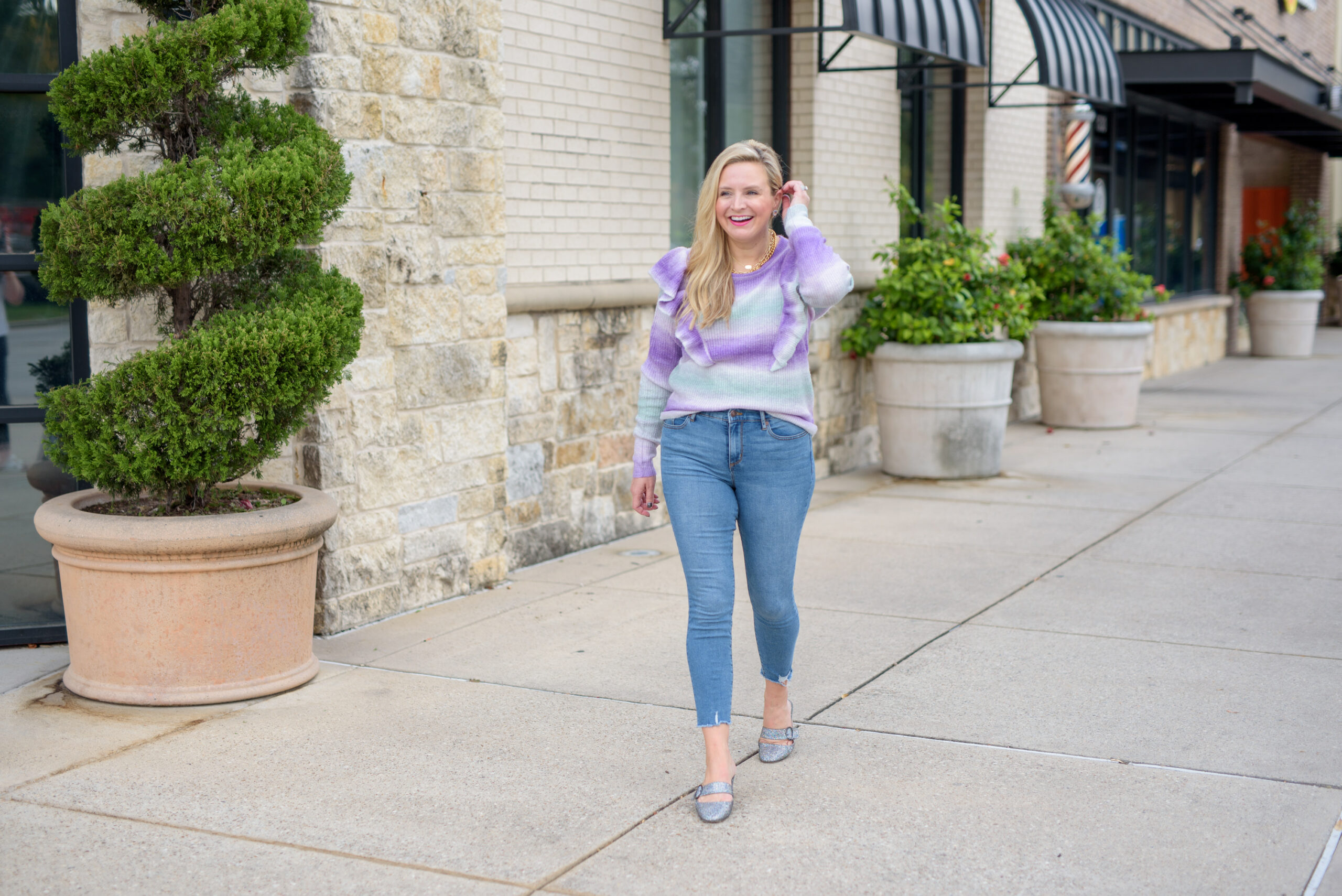 Walmart Womens Clothes by popular Houston fashion blog, Fancy Ashley: image of a woman wearing a Walmart Scoop Women's Space Dye Sweater with Ruffle Trim and Walmart No Boundaries Juniors' Mom Jeans.